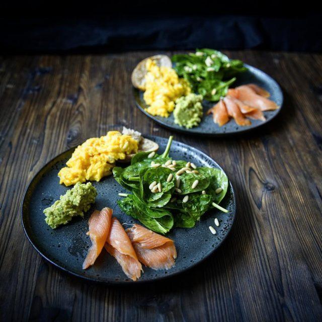 Healthy after holiday lunch avocado scrambledeggs spinachsalad smokedsalmon  dsentriebskitchenhellip