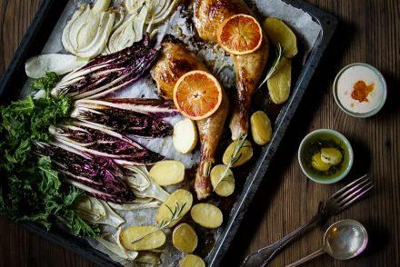 Bild One Tray Pouletschenkel Gemüse Ofen Rezept