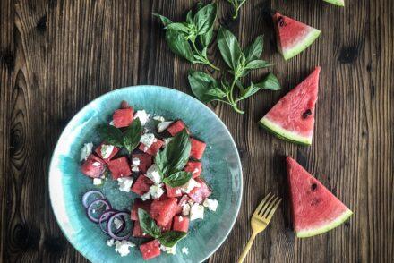 Wassermelonen Feta Salat Rezept Beilage Grill Sommersalat schnell einfach